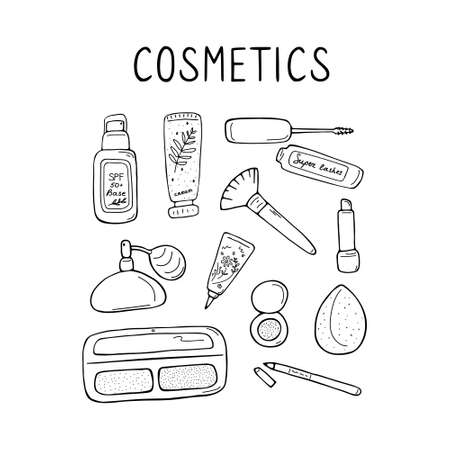 Cute make up and skin care icons. Products and accessoires for beauty. Simple womans signs set. Visage elements. Hand drawn vector graphic. 向量圖像