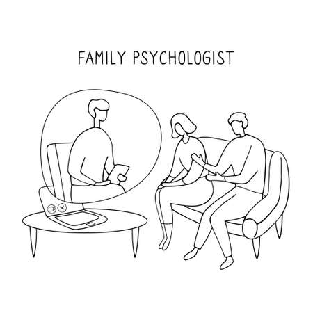 Family Psychologist. Online counseling for couple. Patients at psychological consultation. Linear doodle illustration.