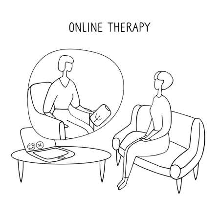 Patient talking to psychologist. Psychotherapy counseling. Online therapy session. Doodle vector graphic.