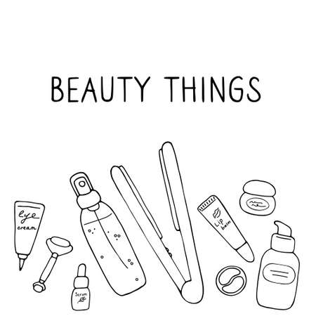 Beauty things. Products, cosmetics, tools, devices for beauty. Skin, body and hair care. Vector hand drawn illustration. 向量圖像