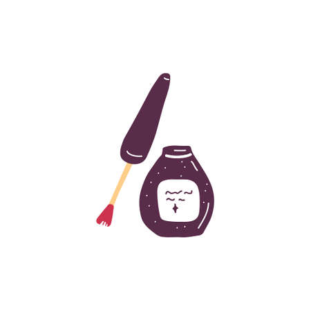 Single cosmetics sign. Sketch simple beauty icon. Eye liner, nail polish, lipgloss, liquid blush packaging. Element for print, posters, advertisement, makeup equipment. Hand drawn flat illustration.