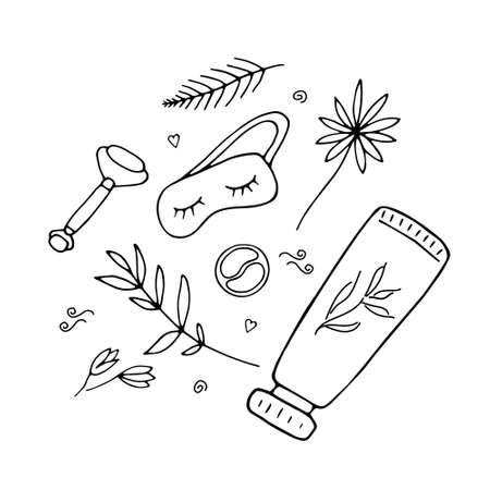 Cute girlish beauty poster with cosmetics and tools. Massage roller, sleep mask, patches and hand cream. Doodle hand drawn elements. Vector illustration.