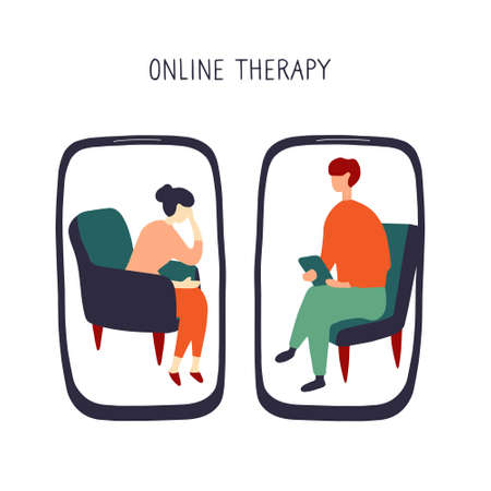 Woman at the psychologist online session. Doctor consultation by phone. Video call to psychiatrist. Online psychological therapy. Hand drawn flat vector graphic. Stock Illustratie