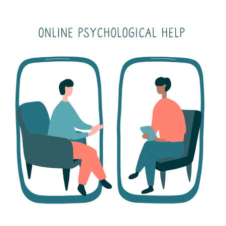 Man at the psychologist online session. Doctor consultation by phone. Video call to psychiatrist. Online psychological therapy. Flat vector graphic.