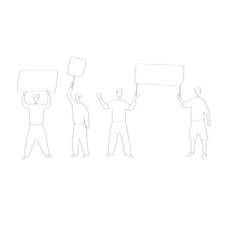 Young men at picket. Ecoactivist holds poster at rally. People go to political demonstrations. Men are protesting. Hand drawn flat vector illustration 版權商用圖片 - 153756309