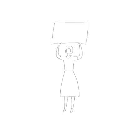 Young woman at picket. Ecoactivist holds poster at rally. People go to political demonstrations. Striking man. Hand drawn linear vector illustration. 向量圖像