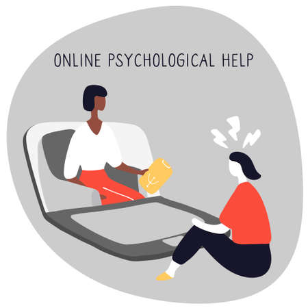 Girl at session with psychologist talks about her problems. Online consultation of psychotherapist. Psychological treatment. Doodle flat vector illustration. Vektorové ilustrace