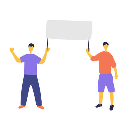 Young men at picket. Ecoactivist holds poster at rally. People go to political demonstrations. Men are protesting. Hand drawn flat vector illustration.