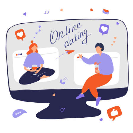 Internet dating. Internet flirting and relationships. Mobile service, application for meeting foreigners. Flat vector illustration.