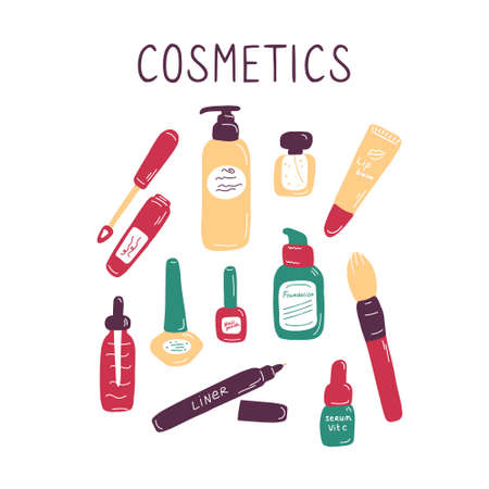 Makeup and cosmetics background. Background with makeup elements and flowers. Visage tools banner, poster for digital and print. Hand drawn doodle flat vector illustration.