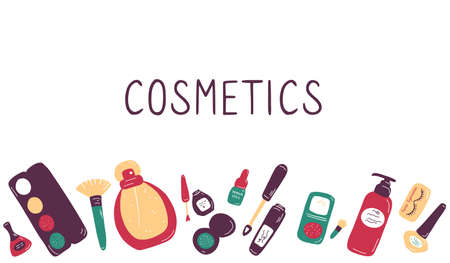 Make up and beauty symbols icon set. Female collection of different products accessoires for skin care and visage. Hand drawn flat vector illustration. Ilustração