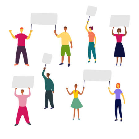 People with placards in their hands. Group of people of different gender and race are holding posters and banners. Advertising, protest, rally, appeal concept. Flat vector illustration. Vettoriali