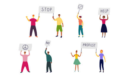 Striking people with placards in their hands. Group of people of different sex and race came out to meeting. Protest movement, march of dissent. Flat vector illustration.