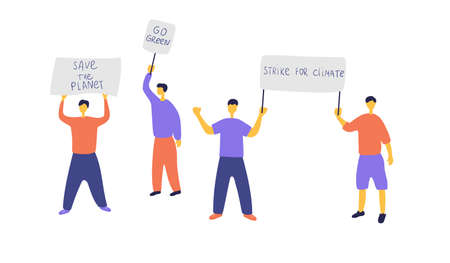Eco activists staged protest. People protesting against environmental pollution. Men and women with placards went on strike. Green organization protects nature. Vector flat illustration.