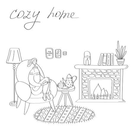 Happy woman resting at home. Cozy house with fireplace. Seasonal concept for card, poster, sticker. Linear hand drawn illustration Illusztráció