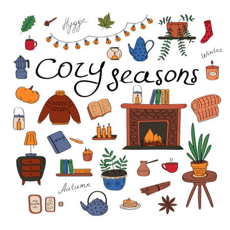 Cozy seasons. Big set of hygge icons and handwritten lettering. Cute elements for posters, cards, stickers and seasonal designs. Hand drawn vector illustration in Scandinavian style 向量圖像