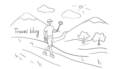 Travel blogger shoots video on smartphone. Male influencer takes selfie photo for blog on social media. Young man vlogger broadcasting vlog from trip. Lifestyle blog. Cartoon vector illustration