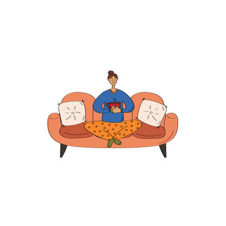 Woman in pajamas sitting on couch. Cozy home card. Hand drawn flat vector illustration