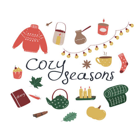 Cozy seasons. Set of hygge icons and handwritten lettering. Cute elements for posters, cards, stickers and seasonal designs. Hand drawn flat vector illustration in Scandinavian style