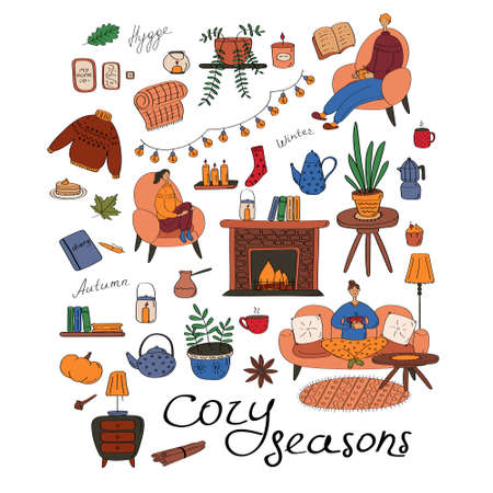 Warm and cozy set. Big collection of hygge elements. Seasonal concept. Flat vector icons