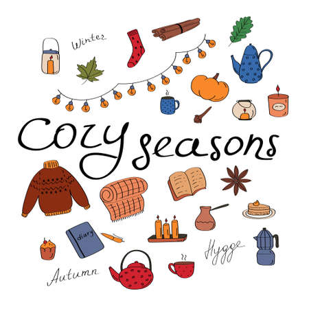 Cozy seasons. Big set of hygge icons and handwritten lettering. Cute elements for posters, cards, stickers and seasonal designs. Hand drawn flat vector illustration in Scandinavian style