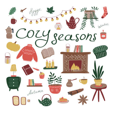 Cozy set. Big collection of hygge elements. Seasonal scandinavian concept. Flat vector icons Ilustração Vetorial