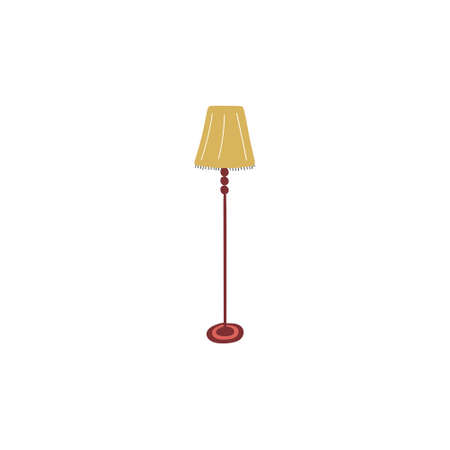 Cute doodle icon of floor lamp. Hand drawn vector colored flat illustration