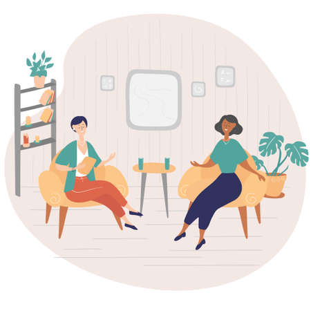 Interview show. Interviewer asks young woman questions. Two women sit on chairs and talk. TV show. Hand drawn vector illustration in cartoon style Vettoriali