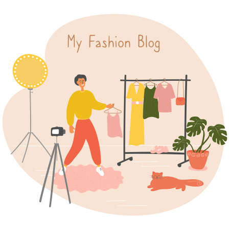 Fashion blogger showing trendy clothes to camera. Stylist influencer creates content for vlog. Young man teaches to choose trendy outfit. Opinion leader gives advices for followers in his blog. Vector Vector Illustration