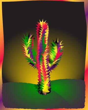 Cactus en la noche. Ilustración forma cero. Gradiente de malla. Vieiras herramienta.  Foto de archivo - 374507