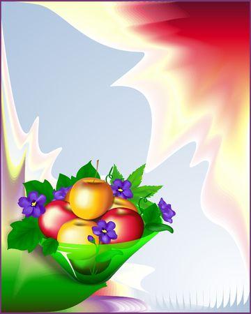 Apples & Violets in Vase - digital illustration form scratch. Banco de Imagens