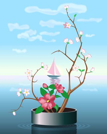 Bloomong branch on water background. Digital illustration from scratch. Gradient Mesh. Banco de Imagens