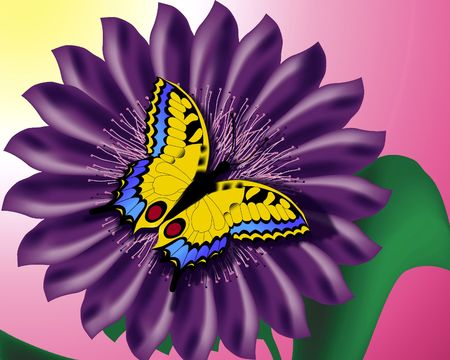 Bright aard contrast. Digitale Illustratie uit vlinder scan.