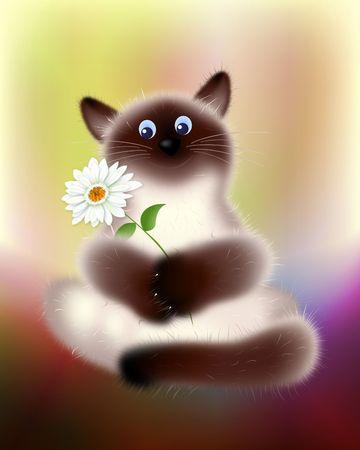 Cat feels good. Digital Illustration. Gradient Mesh, Scallop. Фото со стока