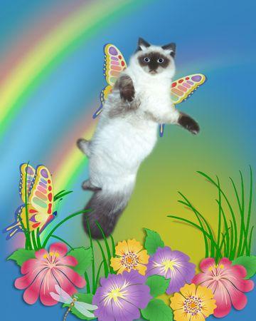 Foto van mijn kat op illustratie achtergrond.