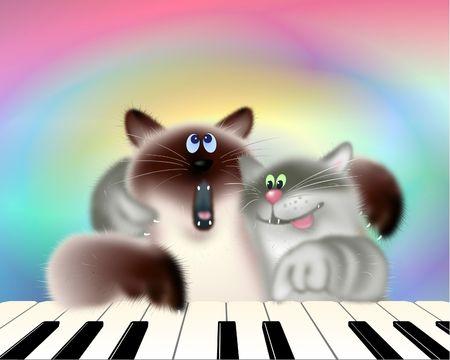 Twee muzikale katten piano spelen en zingen. Digitale Illustratie. Gradient Mesh, Sint-jakobsschelp, Filters. Stockfoto