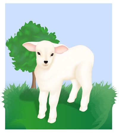 Lamb. Religious Motif. Digital illustration. Gradient mesh.