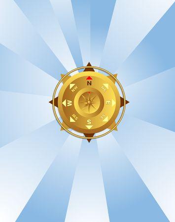 Kompas op lichte blauw. Hellingen, melanges.