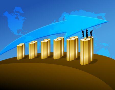 Happy people on business graph. Digital illustration. Gradients. Фото со стока