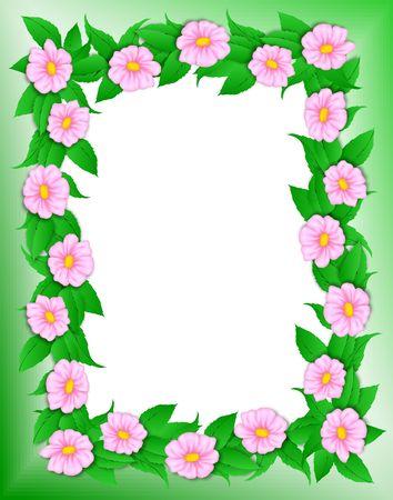 Fiore con cornice di ritaglio percorso. Illistration digitale. Gradiente di maglia, gradienti. Archivio Fotografico - 454711