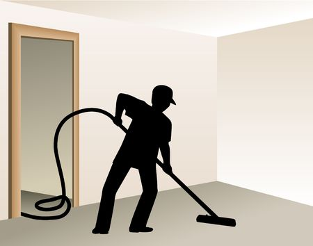 Worker vacuuming. Digital illustration from scratch. Clipping paths included.