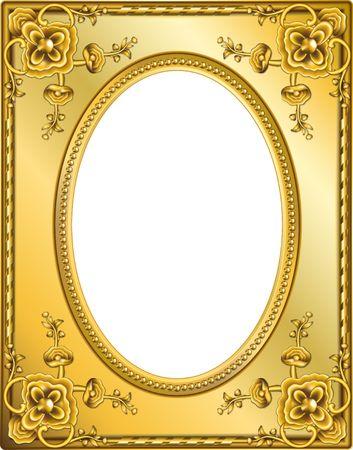 Gouden frame met clipping paths. Digitale illustratie van nul. Mengelingen, gradiënt maas. Stockfoto
