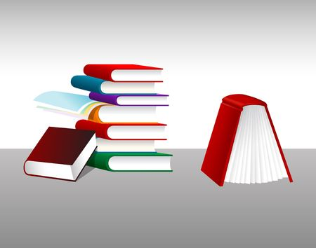 Book Stack. Digital illustration. Gradients, mesh. Stock fotó - 497701