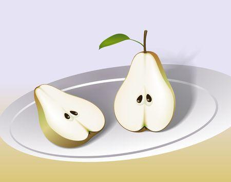 Pear cut in half. Digital illustration. Gradient mesh. Stock Photo