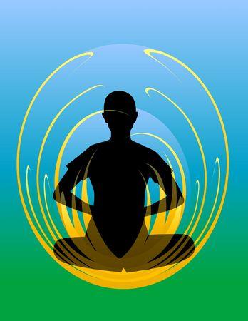 Yoga. Lotus position. Digital illustration. Фото со стока