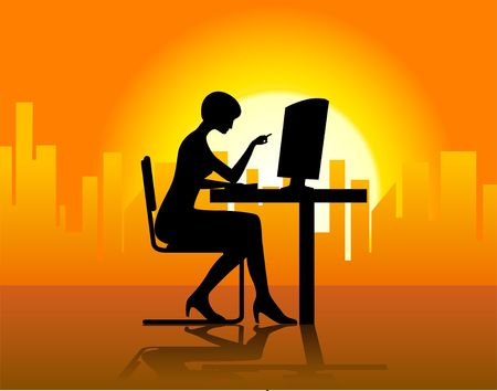 Businesswoman in front of computer. Digital illustration. Фото со стока