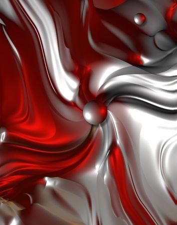 Metal fractals with red shadows. Digital illustration.