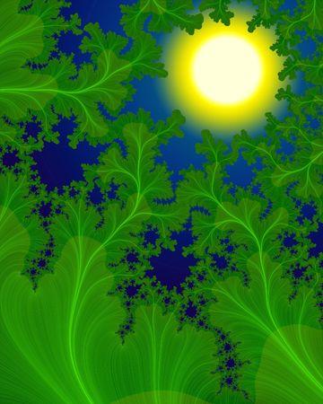 Abstract Plant - Green fractals. Digital illustration.