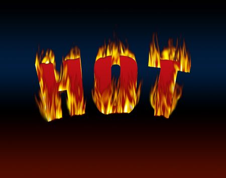 Hot sign with artificially rendered flame. Digital illustration. Stock fotó