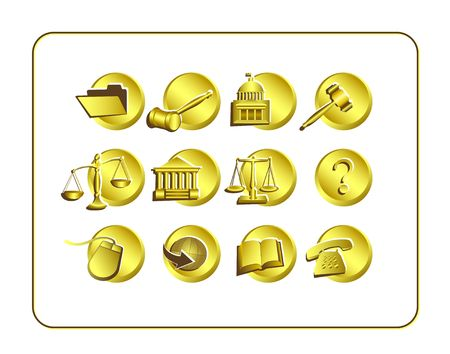 Legal Icon Set. Digital illustration. Contains clipping path.